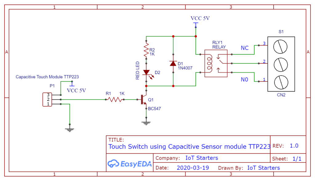 Touch Based Switch board circuit