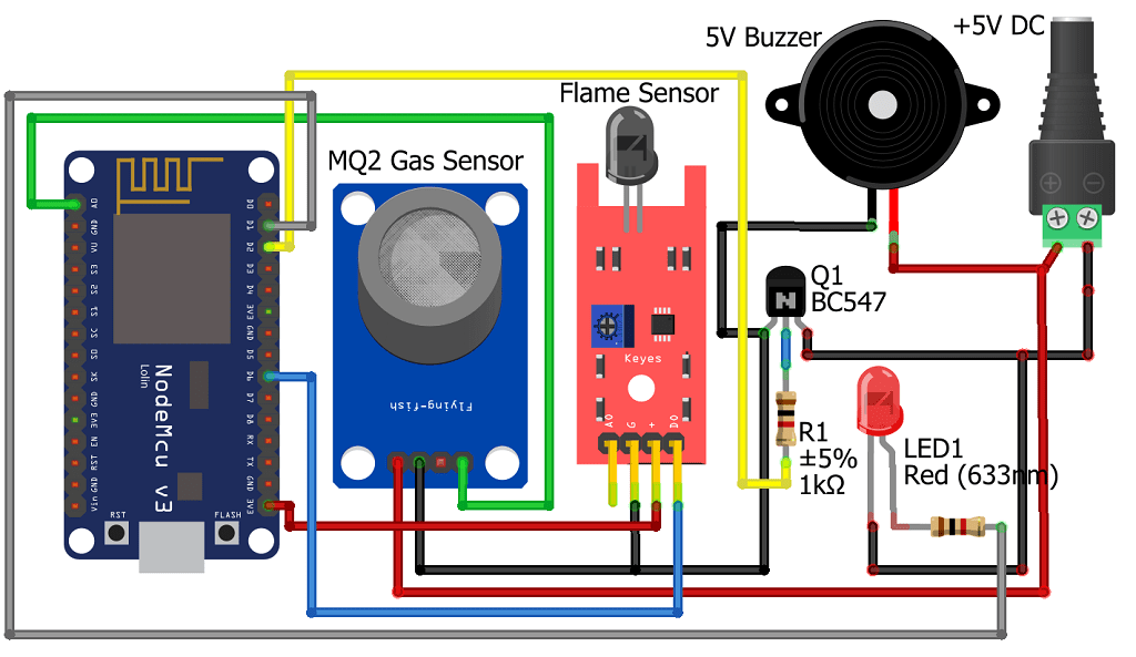 IoT based Fire Security alarm system using NodeMCU